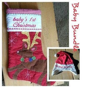 My First Christmas Stocking / Santa Hat Set